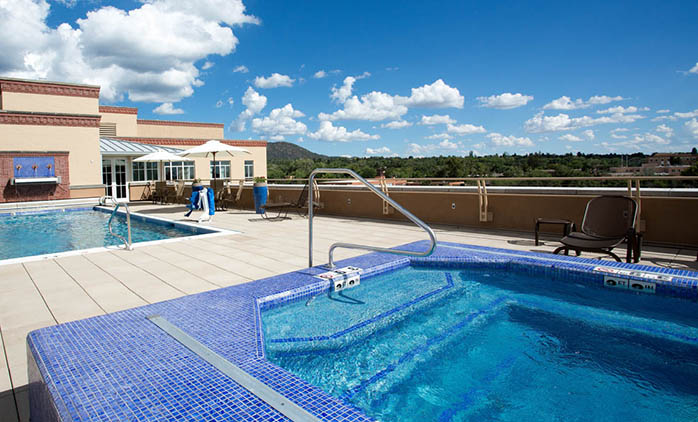 Rooftop Pool at the Drury Plaza Hotel in Downtown Santa Fe