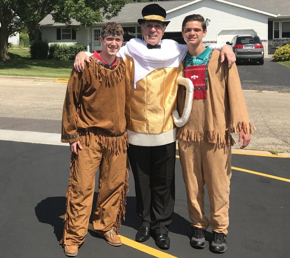 JD and Brendan dressed as Native Americans and Joe as beer