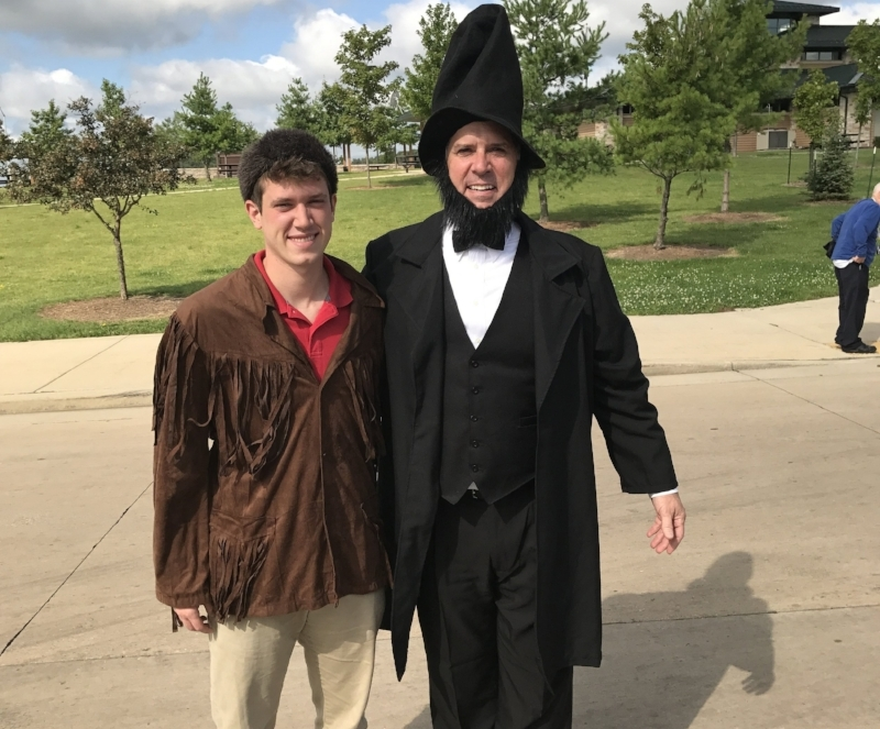 Costume Clue: Joe as Abraham Lincoln & JD as Davy Crockett