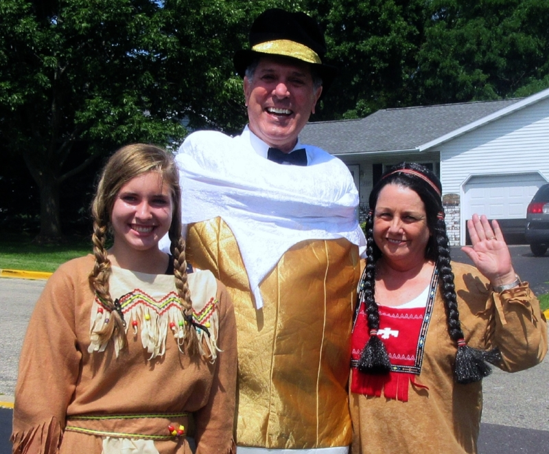 Costume Clue: Joe dressed as a beer mug and Allison and Mary dressed as Native American Maidens