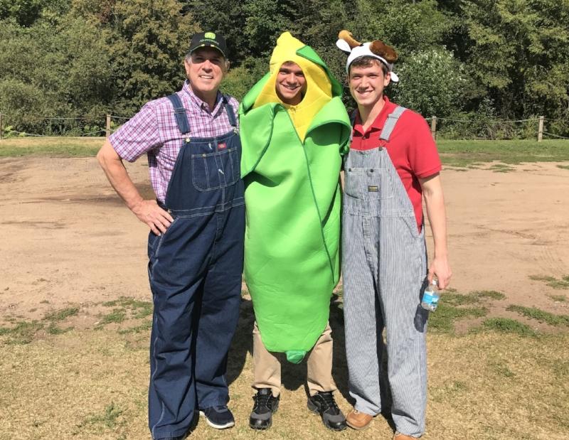 Costume Clue: Farmers (Joe & JD) and Ear of Corn (Brendan)