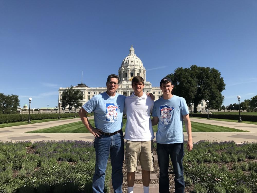 Joe with his sons JD and Brendan sporting Minnesota Twins gear