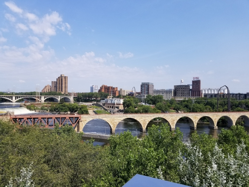 St. Anthony Falls and the Old Stone Bridge Spanning the Mississippi River in Downtown Minneapolis