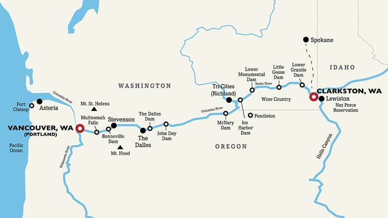 Snake River Washington Map.Columbia River Cruise American Classic Tours