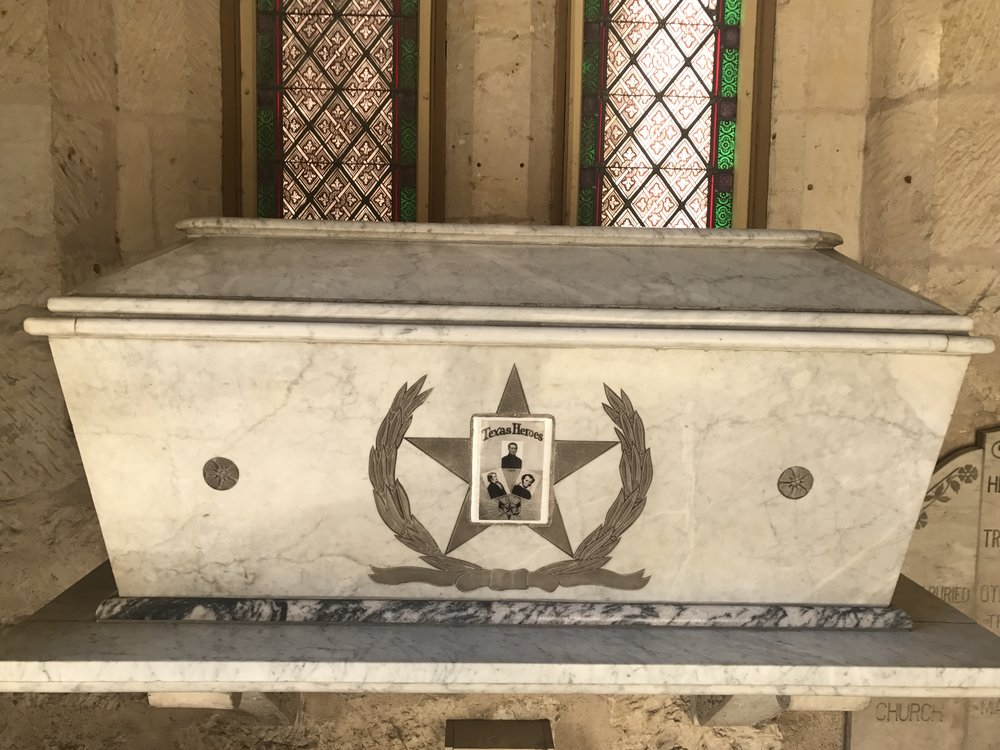 Tomb of Davy Crockett, William Travis, and Jim Bowie at San Fernando Cathedral