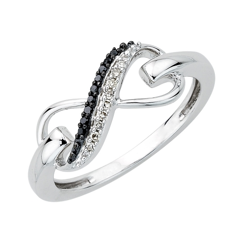 07 Ct T W Sterling Silver Black And White Diamond Infinity Ring