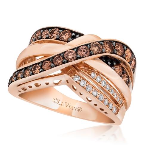 le vian 14 karat strawberry gold chocolate and vanilla diamond gladiator ring daz9500001