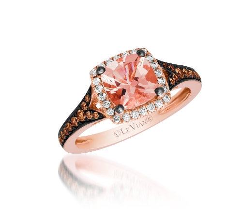 Le Vian 14 Karat Strawberry Gold Cushion Peach Morganite Chocolate