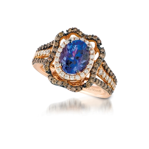 le vian 14 karat strawberry gold oval blueberry tanzanite chocolate and vanilla diamond ring daz7500007 - Chocolate Wedding Ring