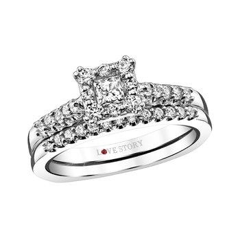 Delicate 14K White Gold 5 8CTW Princess Cut Diamond Wedding Set DWQ6503020