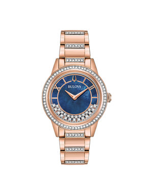 7ca6fa403 Dazzling Rose Gold Plated Turnstyle Crystal Blue Mother of Pearl Ladies  Watch ~WLBUL00049~