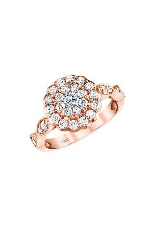 Vintage 14k Rose Gold Beautiful Bride Cluster Halo Engagement Ring