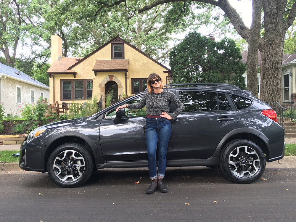 Rachel with her new Crosstrek!