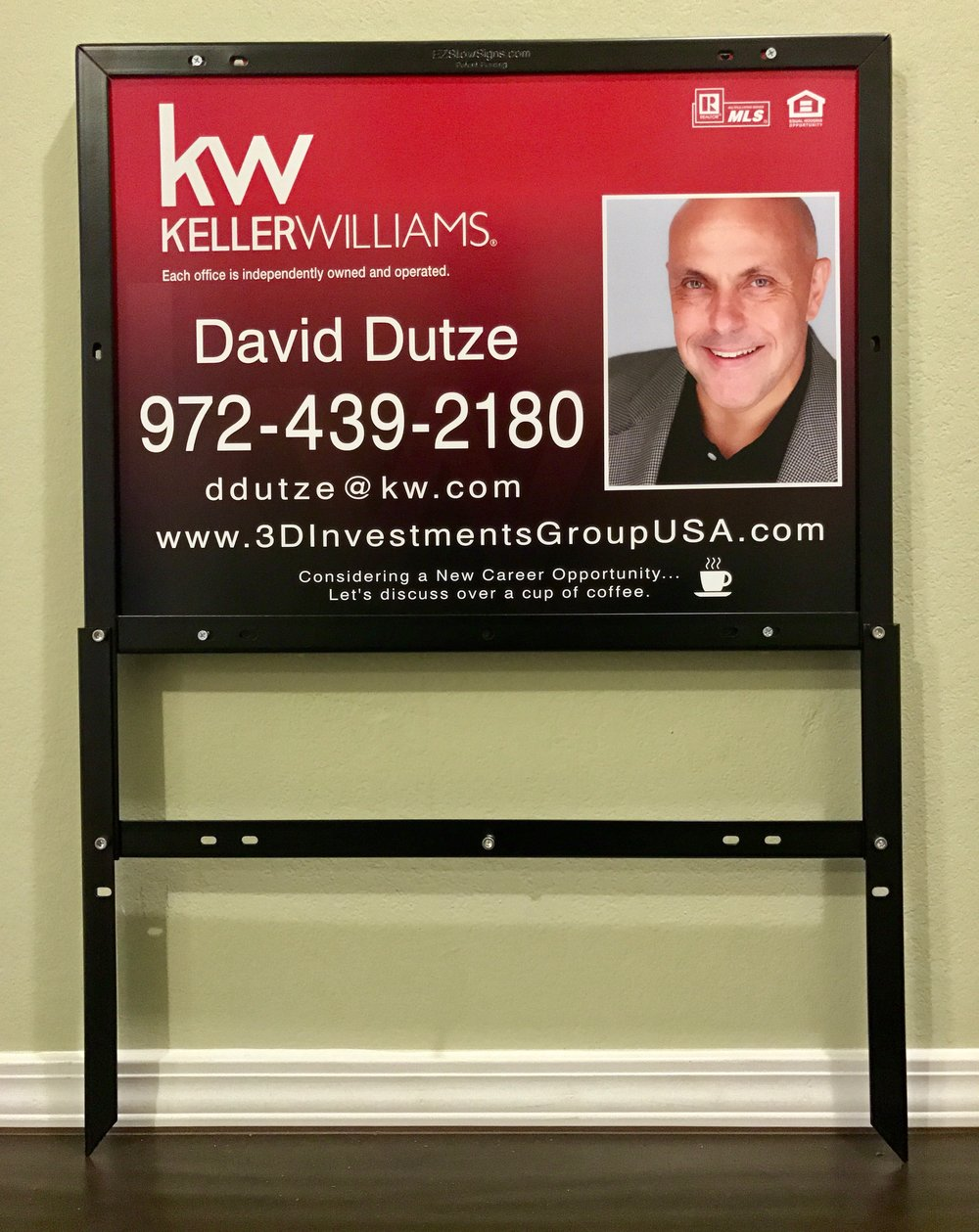 Keller Williams Realty 18%22 x 24%22 Panel & 6%22 x 24%22 Custom Aluminum Rider & EZ Frame (2).jpeg