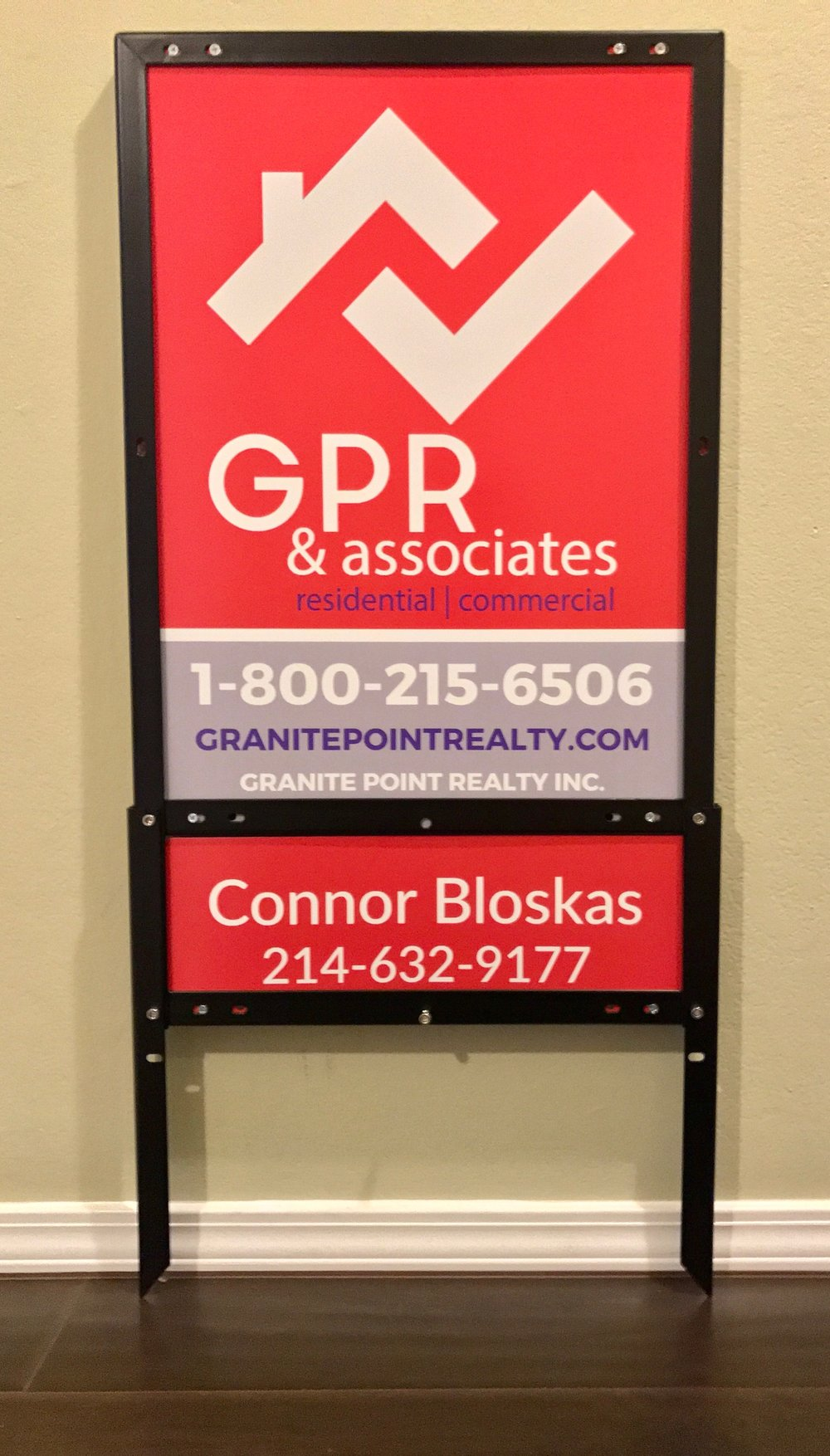 Granite Point Realty 24%22 x 18%22 Panel & 6%22 x 18%22 Custom Aluminum Rider & EZ Frame.jpeg