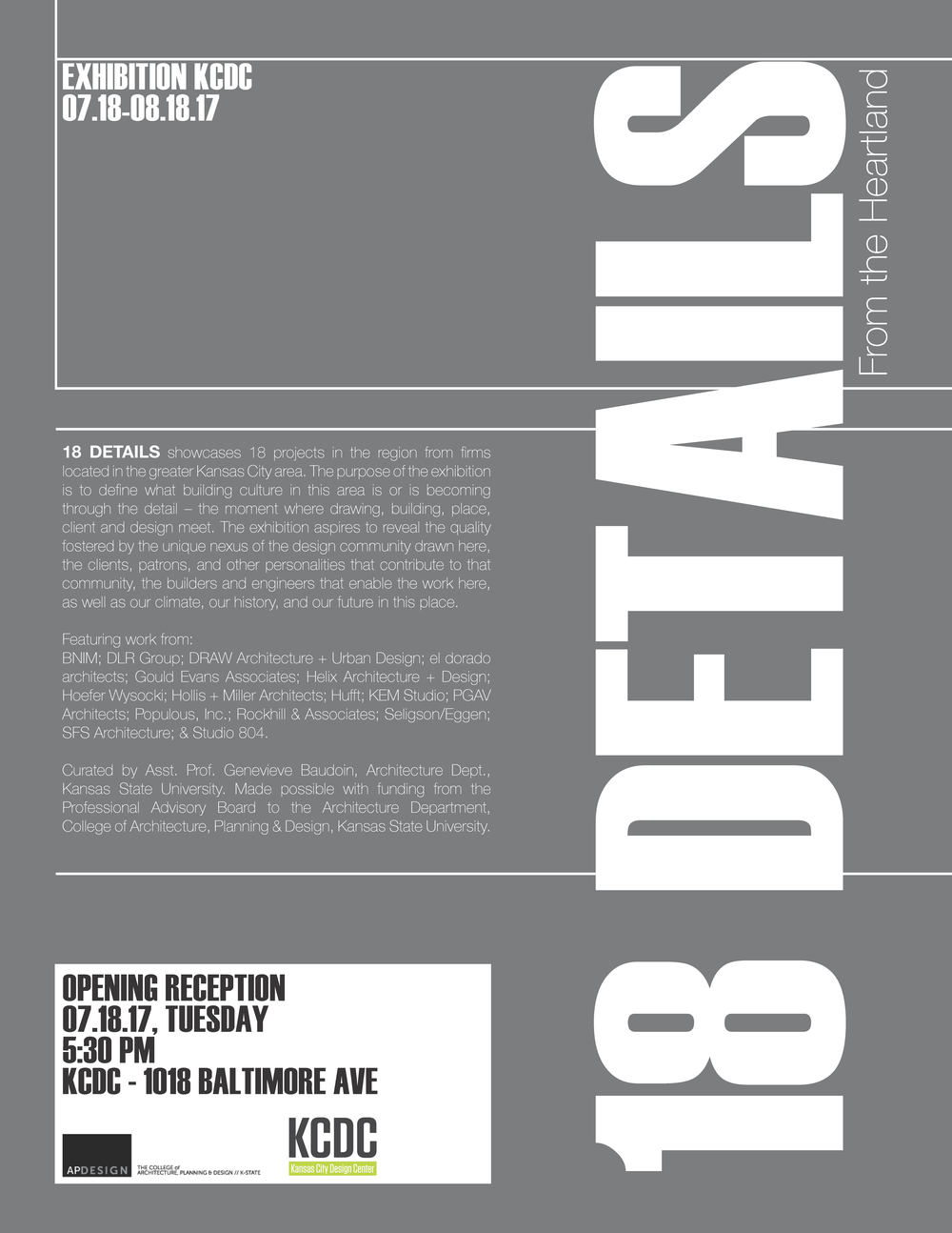 The KCDC Is Pleased To Host 18 Details, An Exhibition Of 18 Projects In The  Region From Firms Located In The Greater Kansas City Area, Curated By Kansas  ...