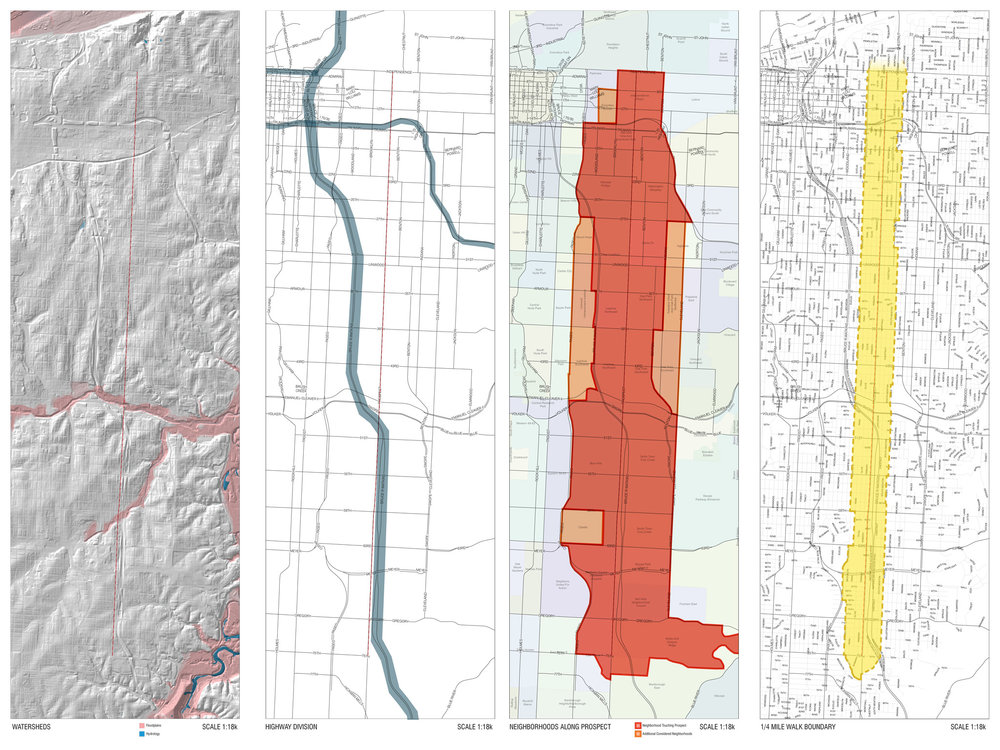 Development of a study area  (maps left to right: topography, highways, neighborhoods, & 1/4 mile)