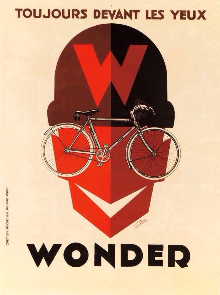 Georges Favre's beautiful poster for Wonder bicycles, late 1920s. France