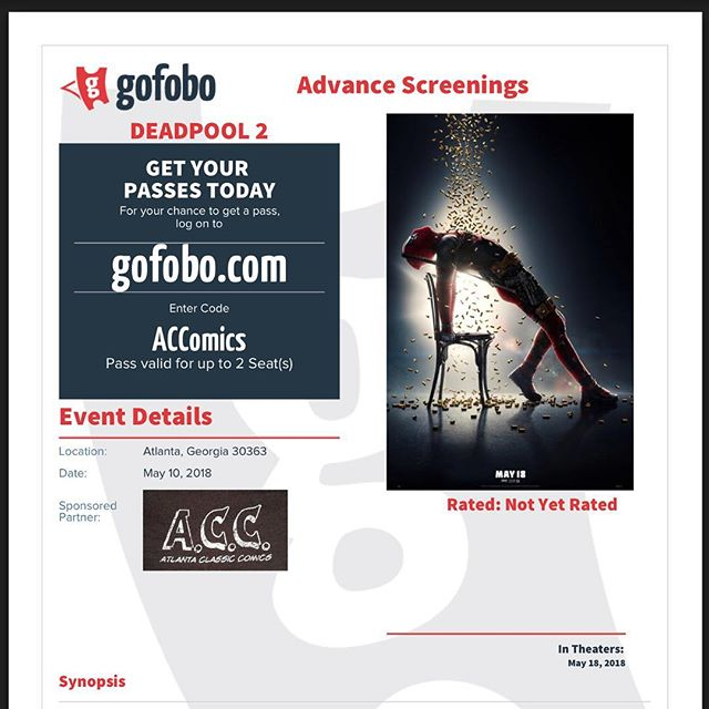 Free advance screening today for Deadpool 2. 4:30 at Atlantic station in Atlanta. Just go to the website, enter our code and show up early. #deadpool #cable #marvel #xmen #xforce #wolverine
