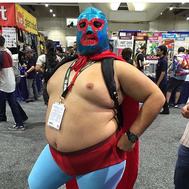 Some things you can't unsee. Aaaaaand this is amazing. #nacho #luchalibre #nacholibre #sdcc #sdcc18 #comiccon #ramses