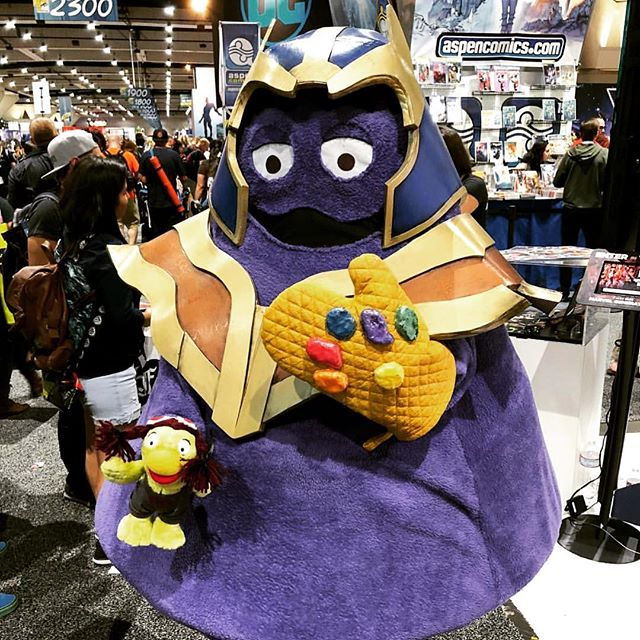 No competition, #Grimace #Thanos easily the most creative thing at #SDCC this year. Hilarious! #cosplay #mcdonalds #sdcc18 #ovenmit #avengers