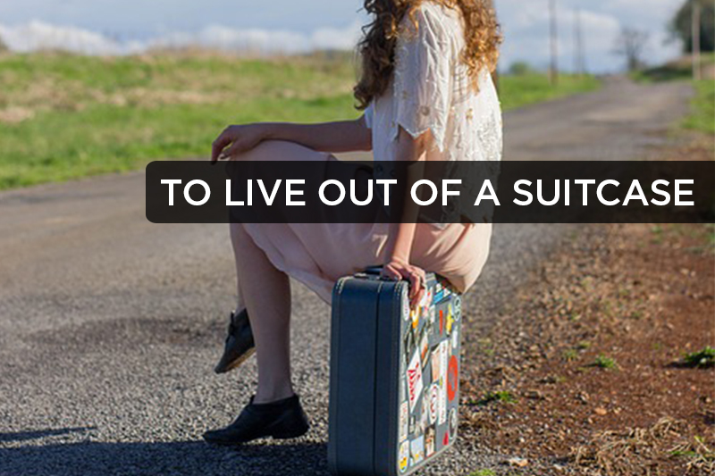 This idiomatic phrase refers to someone who travels to multiple destinations in a row for brief periods of time, and whose belongings all fit in a suitcase.