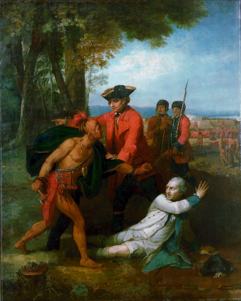 General Johnson Saving a Wounded French Officer from the Tomahawk of a North American Indian Benjamin West, CA 1766