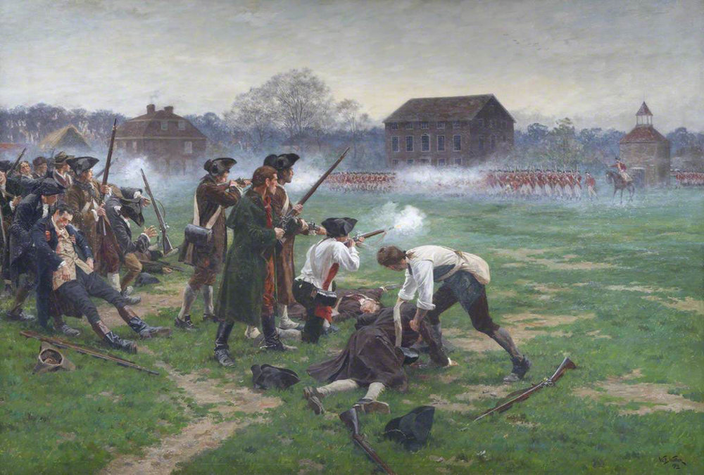 Battle on Lexington Green: Battle of Lexington and Concord 19th April 1775 American Revolutionary War: picture by William Barnes Wollen