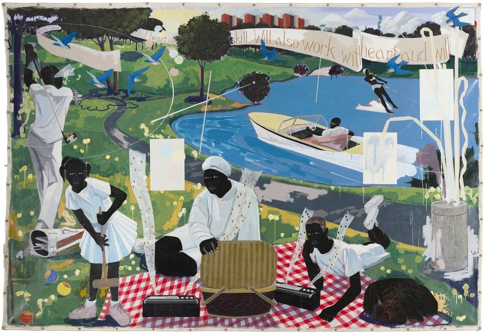 "Kerry James Marshall, ""Past Times,"" 1997, Acrylic and collage on canvas, 9 ft. 6 in. × 13 ft. Metropolitan Pier and Exhibition Authority, McCormick Place Art Collection, Chicago."