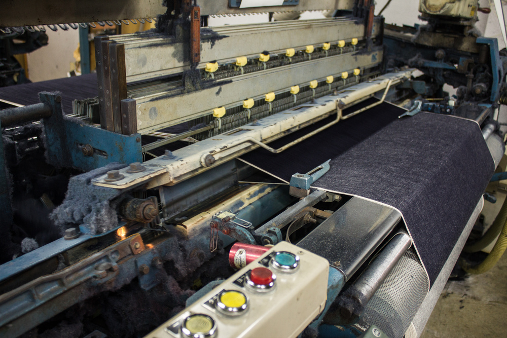 A shuttle loom weaving hemp denim