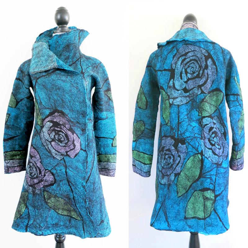 """Roses"" Nuno-Felted Jacket by Sara Smelt. Merino Wool, hand-dyed silk gauze, silk habotai, gold mesh."