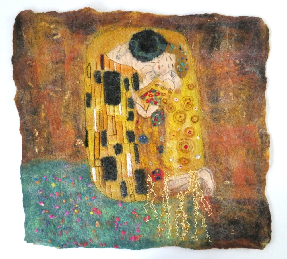 Felt Like A Kiss. Klimt's iconic 'The Kiss' recreated in fiber.
