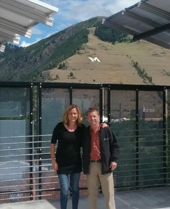 Jennie and Chase at the mixed use solar powered parking garage in downtown Missoula