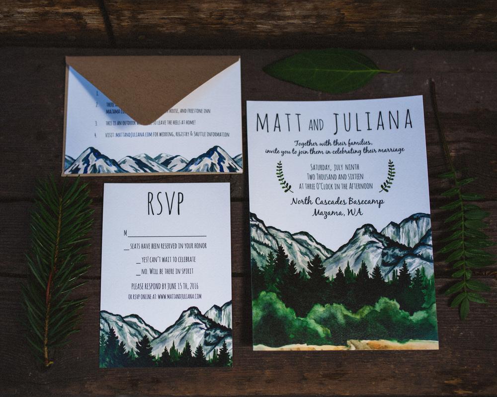 Mountain Themed Invitation Suite | PNW Wedding Invitation