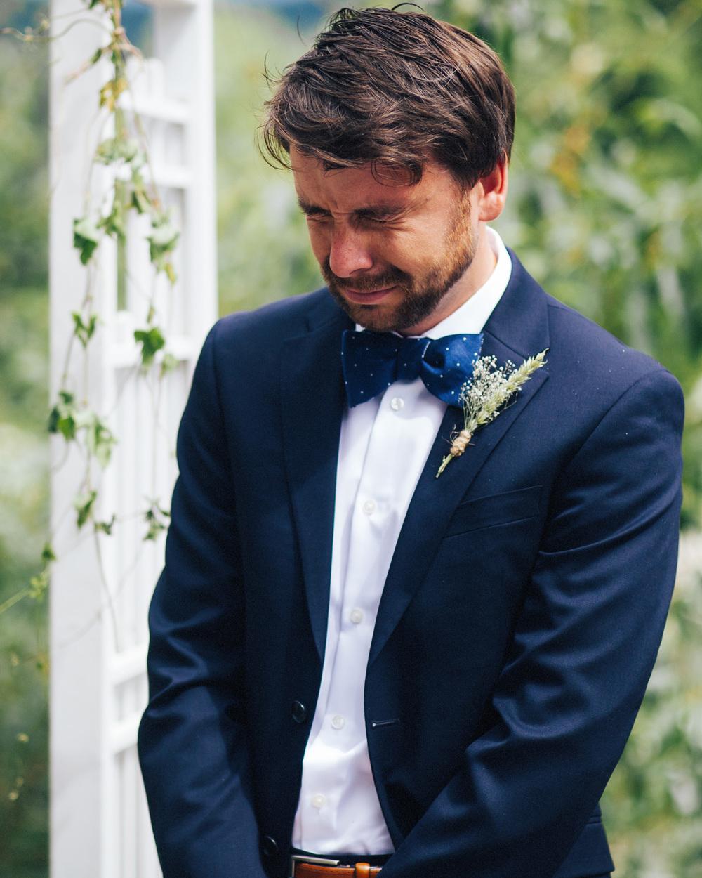 Groom's Reaction | Mazama Wedding