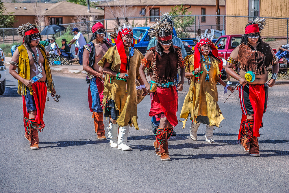 Apache Dancers March in Western Navajo Rodeo Parade