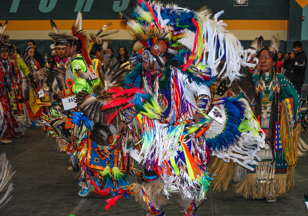 Powwow Dancers in Passionate Action