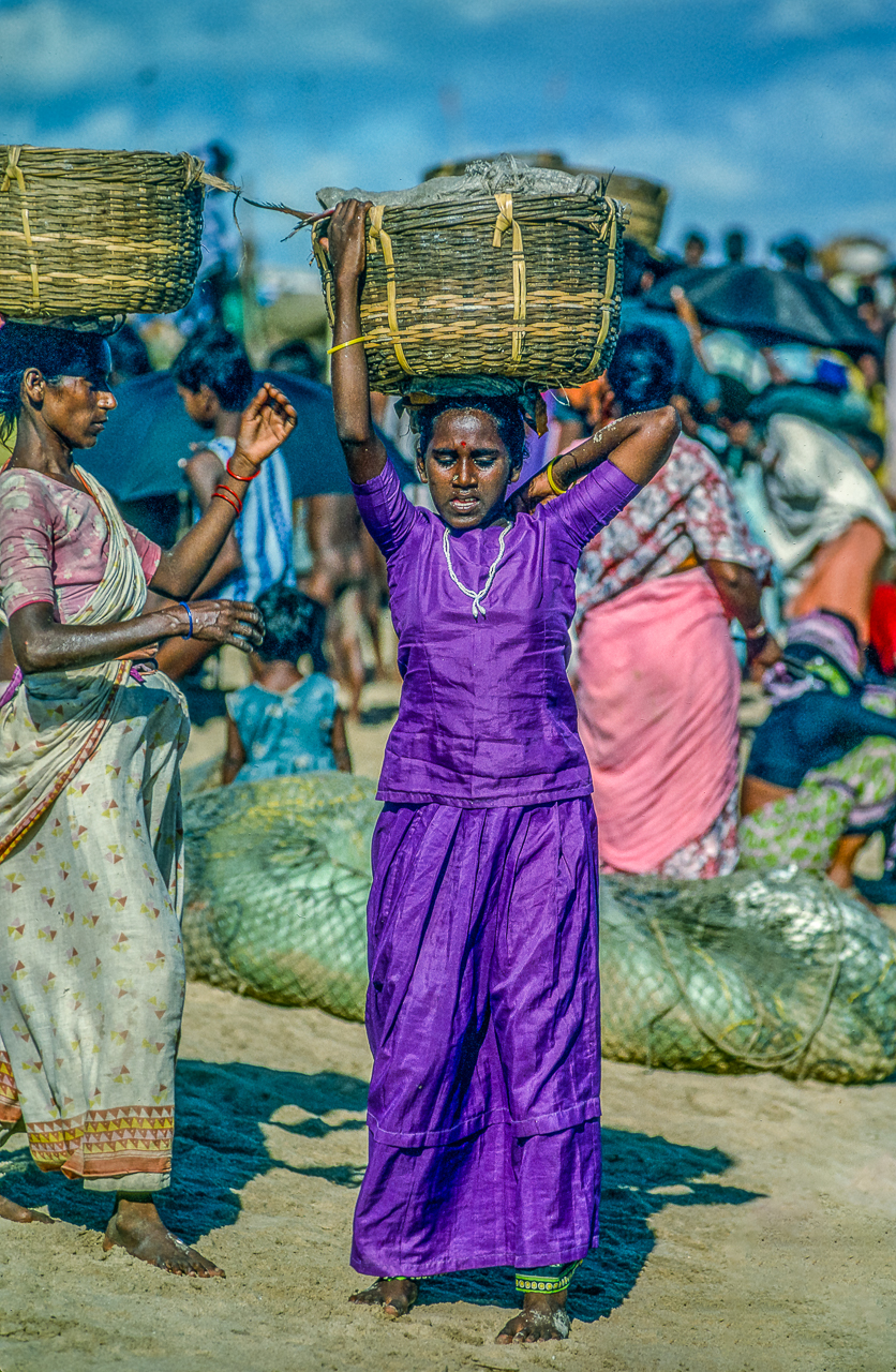 Telugu Village Women Help Each Other Heft Baskets Of Fresh-Caught Fish