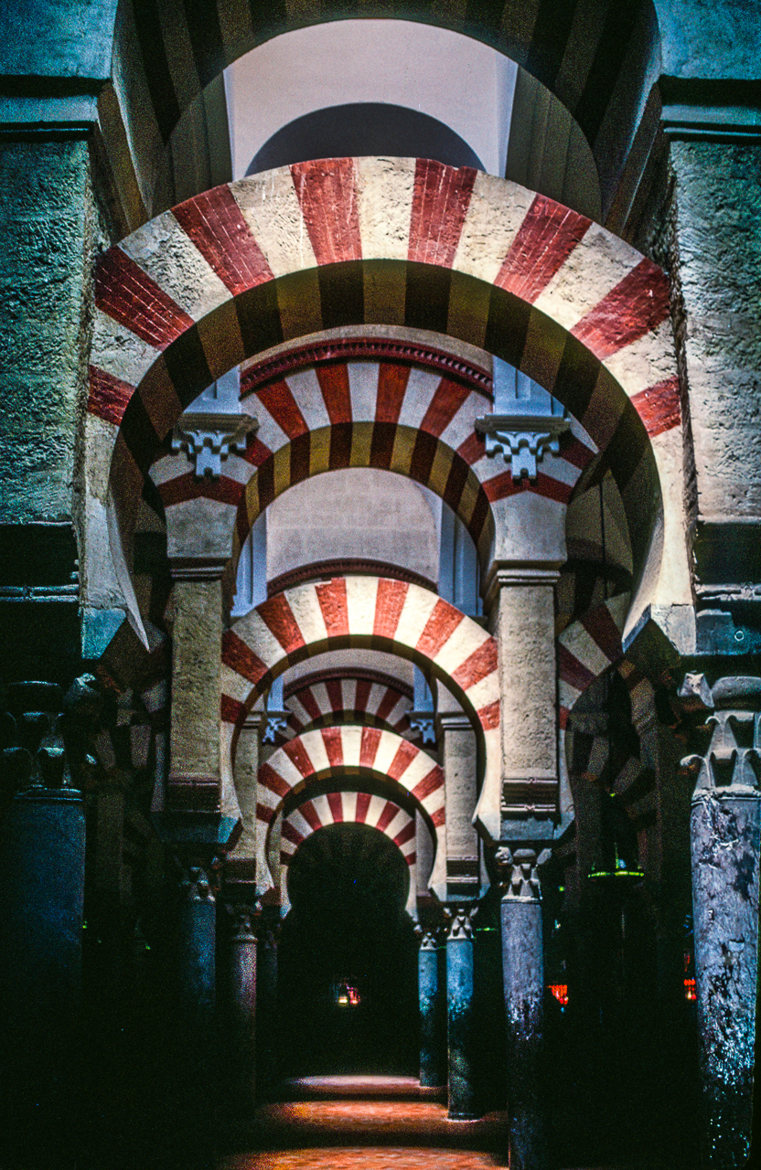 Colorful Arabic Arches Adorn the Famous Cordoba, Spain, Mosque