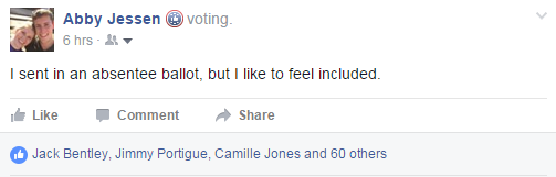 "Facebook created a ""voting"" sticker that popped up on newsfeeds and reminded people to vote, allowed them to share when they were voting, and created hype around Super Tuesday."