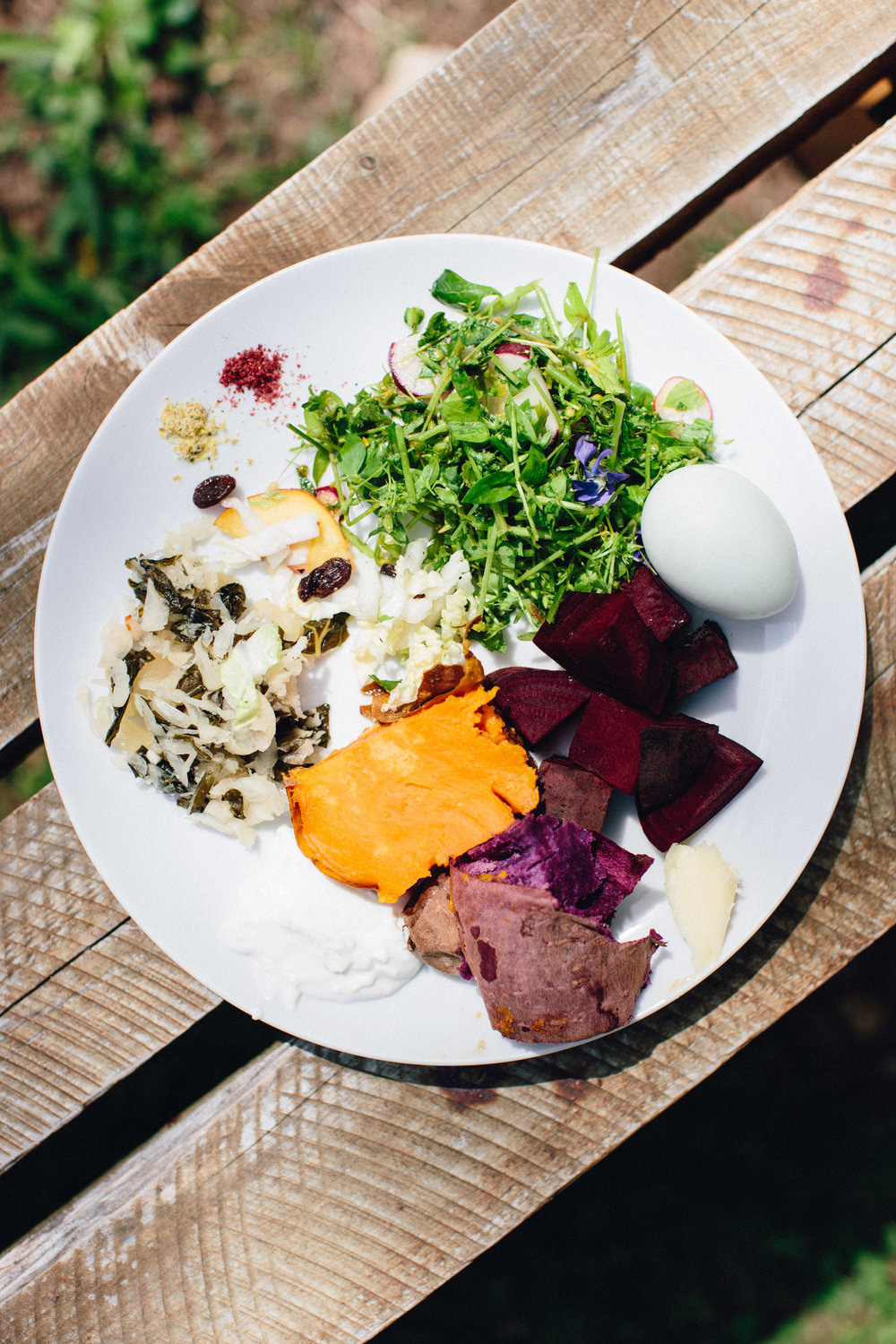 Very similar in how I compose my meals... meals here were like a little sampler of fresh, healthy, simple ingredients - accompanied by at least one fermented element!