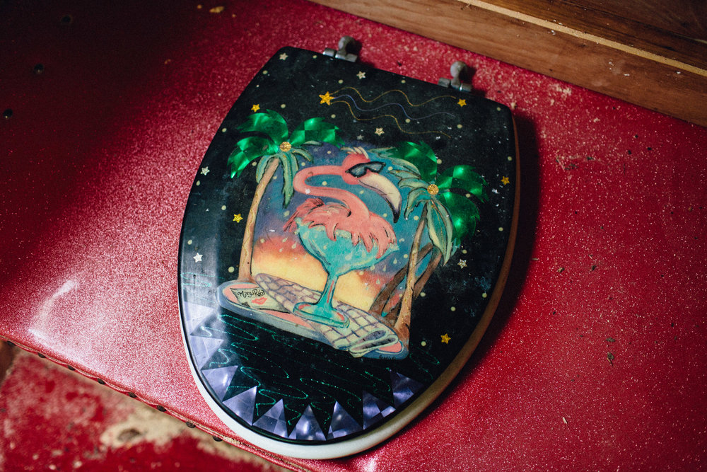 I had to feature this. Unforgettable outhouse detail. Signed by artist: Margo Rita
