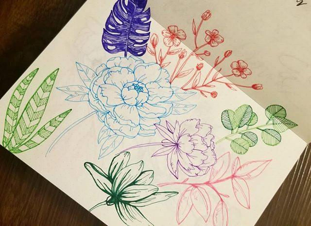 Some little flower doodles on a Wednesday morning. Pens are from @brandlesslife and were a gift from a friend. They're fantastic felt tipped bright colors and really smooth to draw with. Thanks @holyhayson 🧡💕✒ #doodle #drawing #flowers #brandless #pens #ink #rhodia #designer #illustration #botanical