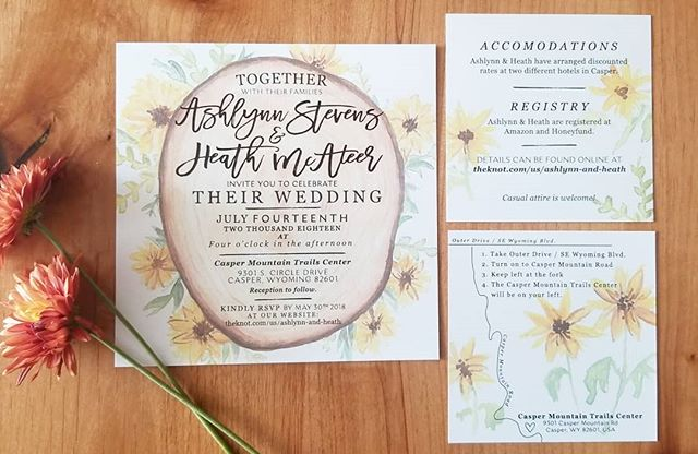 One of my favorite things is working with brides. If you or someone you know is on the hunt for invitation suites that are totally unique, then let's chat! 😊  This suite was honestly just a joy to work on and @ashlynn.mcateer was a dream bride. 💛🌻 • • • #wedding #bridal #invitation #weddinginvitation #papergoods #watercolor #custominvitations #bridetobe #engagement #engaged #sunflowers #bride #weddinginvite #invitationsuite #denverbride #wyomingbride #designer #smallbusiness #women #bossbabes #married