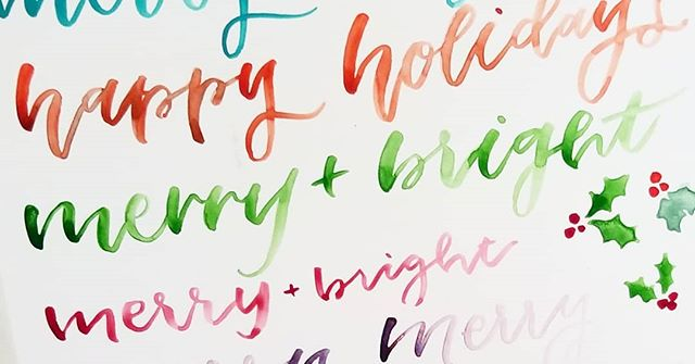 It's that time of year!! Holiday parties, Christmas cards, new years notes! All those lovely paper goods are swirling around my head and I'm so excited to get stuff to the printers. ❤💚🎄🎁 🌲 🌲 🌲 #christmas #holidaycards #merrychristmas #bright #merryandbright #happyholidays #holidays #christmascards #hollyjolly #whitechristmas #calligraphy #watercolorlettering #lettering #lettering #colorful