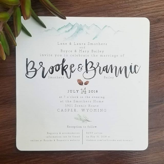 Another invitation from this past summer that was just a joy to do for my sweet cousin @bloomingwithbrooke and her boo @branman_bailey. I love these two with my whole heart and I love watching the love they show each other. Their day was a perfect dream and I am so thankful I got to be a part of it. • • • #bride #wedding #weddinginvite #invitation #invitationsuite #married #marriage #weddingdesigner #design #calligraphy #watercolor #custominvitations #mountainbride #mountain #naturalwedding #mountainwedding #outdoorwedding #weddingflowers