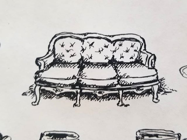 Working on a very exciting project and this little sofa came life. 12/10 looks nap worthy. 🛋 ○ ○ ○ ○  #bombayink #calligraphy #nib #logo #design #drawing #comfy #couch #sofa #victorian #edwardian #indiaink