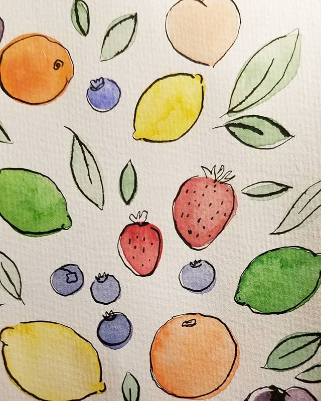Making frooty printz 🍑🍊🍋🍓🍈 #tasty #fruit #print #watercolor #bombayink #indiaink #calligraphy #doodle #printmaking #pattern #lemons #design