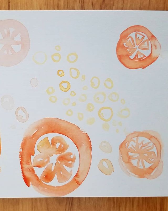 Some little tomato drawings 🍅  But maybe they're oranges? 🍊  You decide!  #tomato #orange #fruit #citrus #watercolor #branding #design