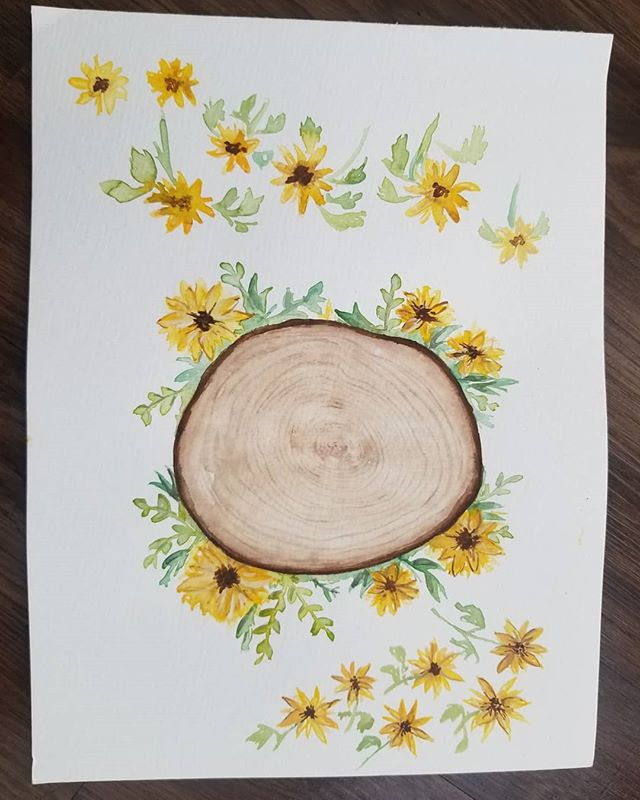 🌻 From original painting to custom invitation. ➡️➡️ SWIPE for progression and detail. 🌻 🌻 🌻 #watercolor #weddinginvitation #denverbride #wyomingbride #denver #colorado #coloradobride #wyoming #engaged #sunflowers #flower #painting #wedding #weddingrings #weddingdesigner #weddinginvite #weddingflowers #weddinginvitations